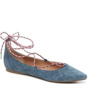 ☀️NWT Steve Madden Emilie Lace Up Flats Blue 7.5
